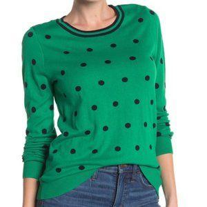 J. Crew NWT Green & Navy Polka Dot Sweater S